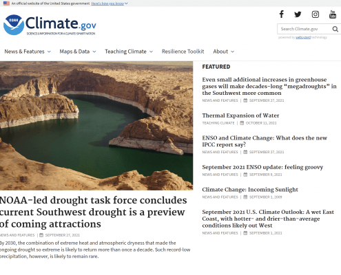 Climate.gov Homepage, October 2021