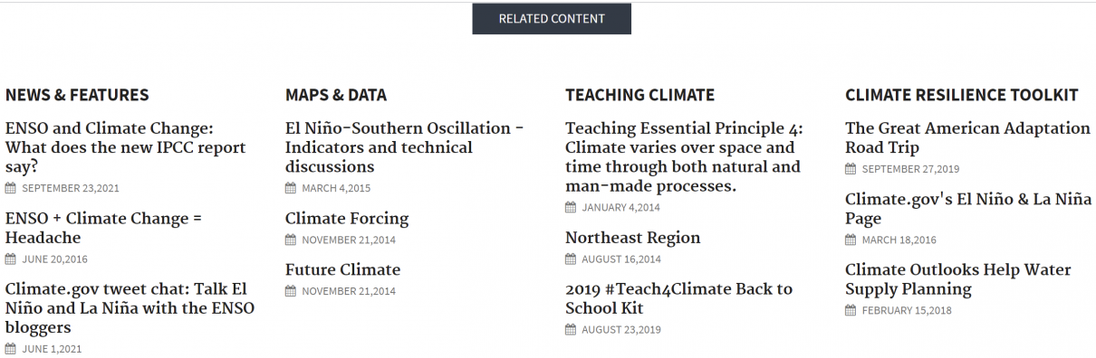 Climate.gov - Related Content Section